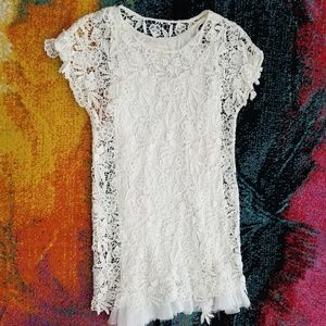White and Ivory Lace Dress